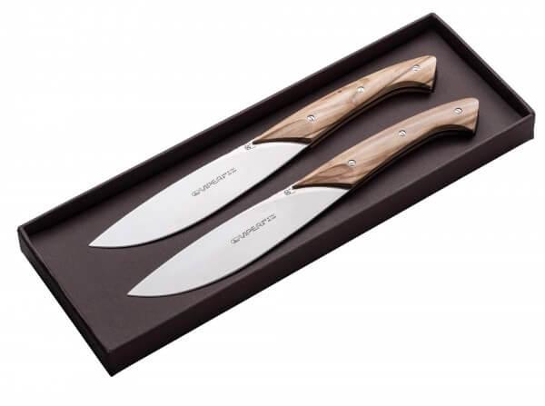 Steakmesser, Braun, Feststehend, 440A, Olivenholz