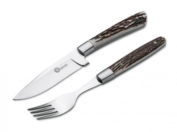 Steakmesser, Braun, Feststehend, Hirschhorn
