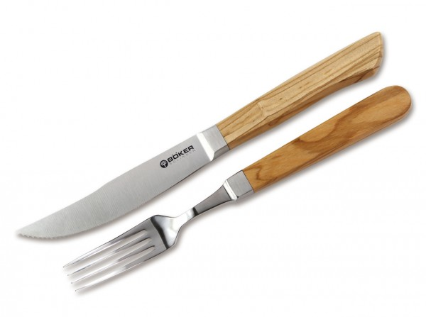 Steakmesser, Braun, Feststehend, Olivenholz
